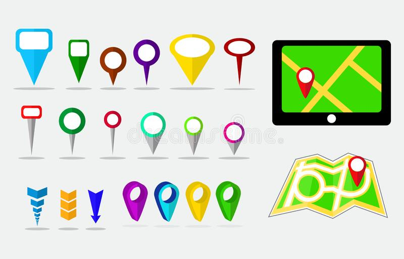Set of maps pin, locating destination on application or gadget. Easy to modify stock illustration