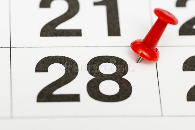 Pin na data número 28 O vigésimo oitavo dia do mês é identificado por meio de um percevejo vermelho Pin no calendário imagem de stock royalty free