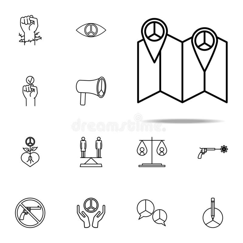 Pin on peace map icon. human rights icons universal set for web and mobile. On white background stock illustration