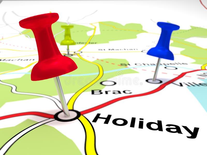 Pin Points en un mapa imagen de archivo