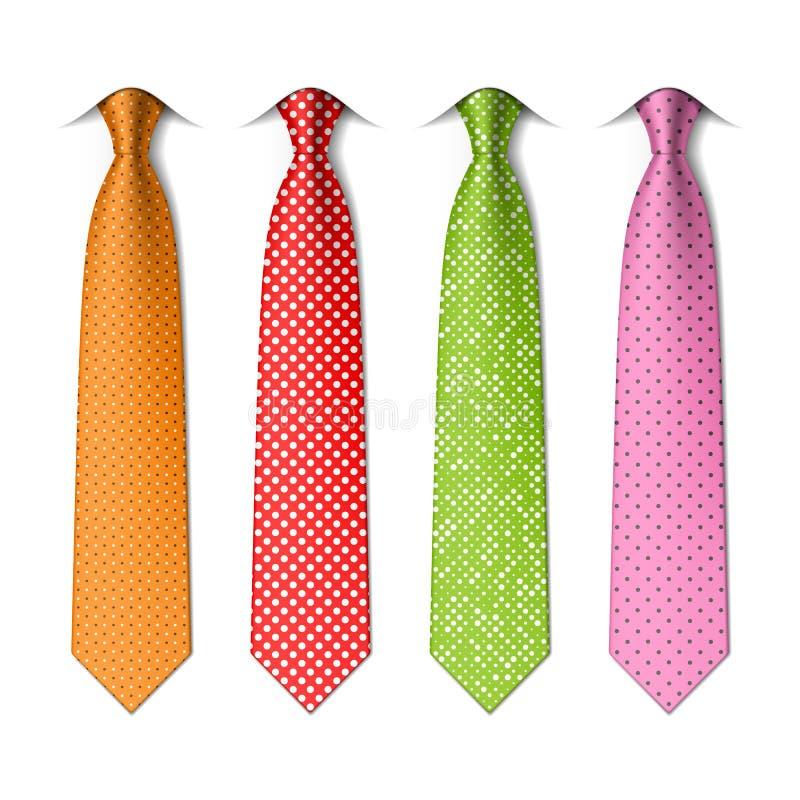 Pin, polka dots silk ties template royalty free illustration