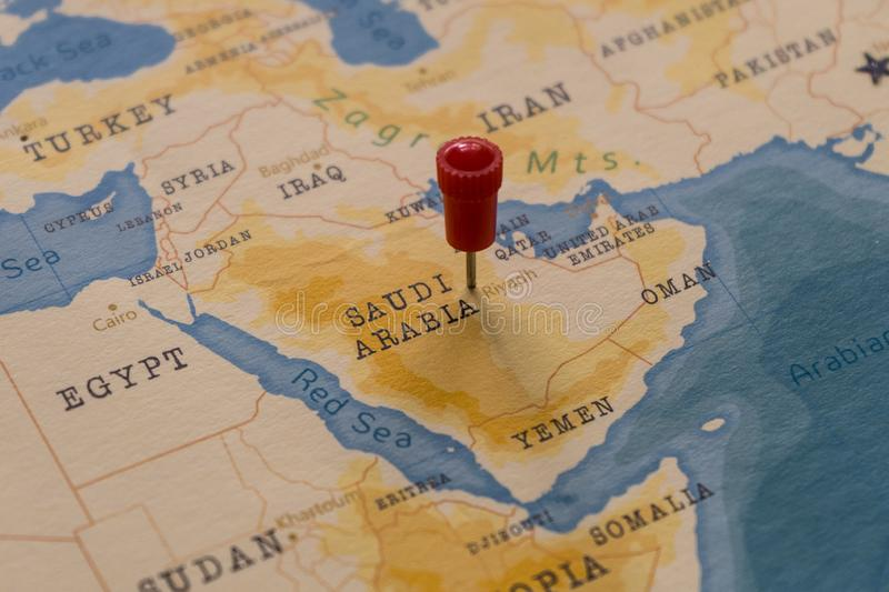 A pin on Riyadh, Saudi Arabia in the world map.  royalty free stock images