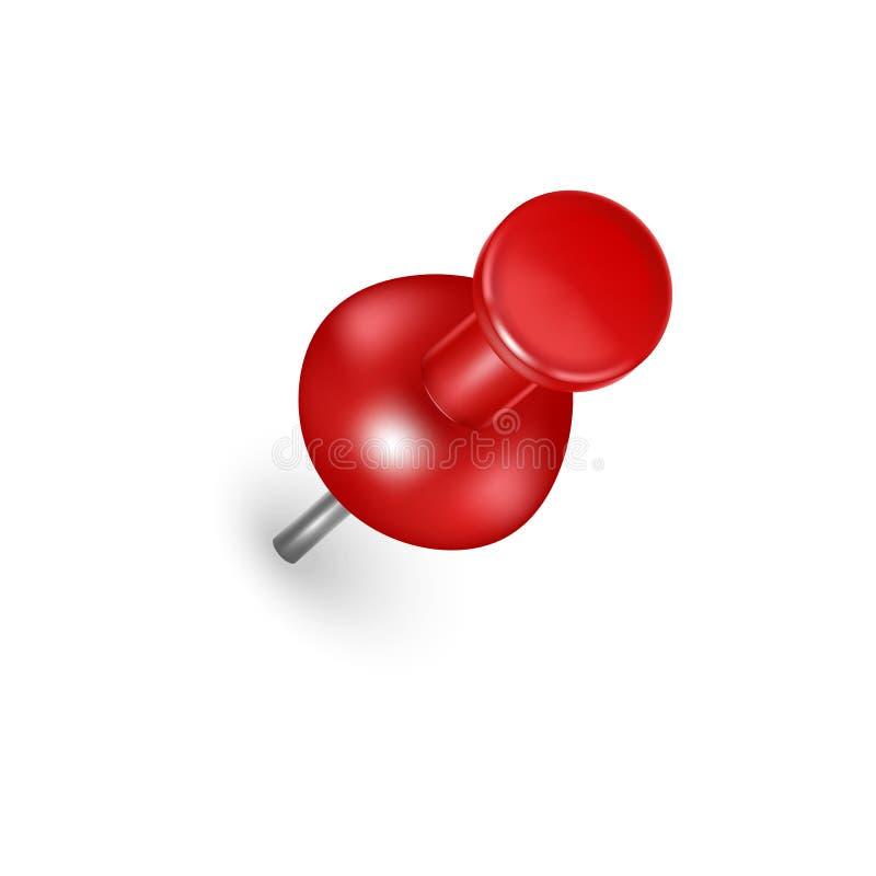 Pin rojo detallado realista del empuje 3d Vector libre illustration