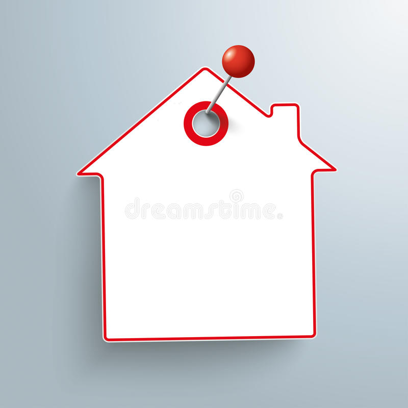 Pin rouge d'autocollant de papier de Chambre illustration stock