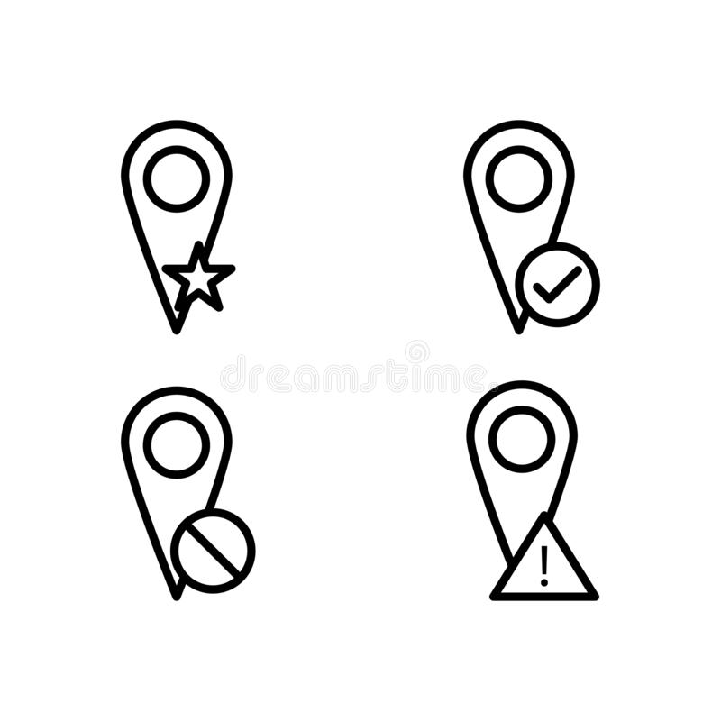 Pin, star, check, delete, exclamation sign icons. Element of outline button icons. Thin line icon for website design and. Development, app development on white royalty free illustration