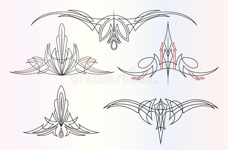 Pin-Stripingverzierungen eingestellt vektor abbildung