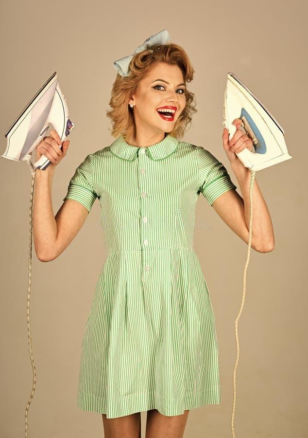 Pin sulla donna con i ferri Divertiresi divertente della donna di pulizia di pin-up fotografia stock libera da diritti