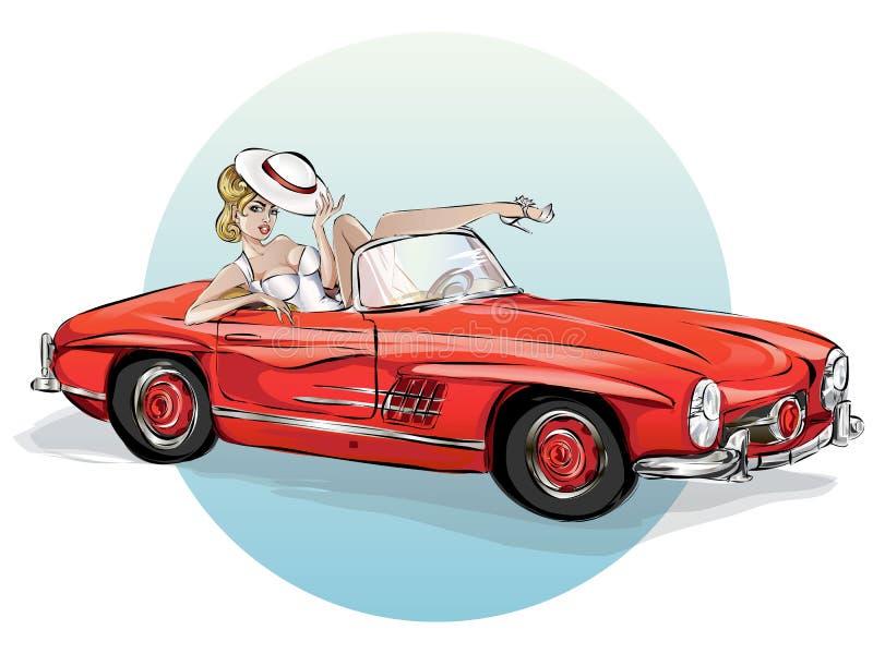 Pin sulla donna sexy in retro automobile rossa, ragazza di Pop art con il cabriolet, arte dell'illustrazione di vacanze estive di immagine stock libera da diritti