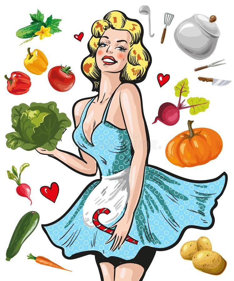 Pin sulla ragazza in un grembiule con le verdure che cucinano concetto illustrazione vettoriale