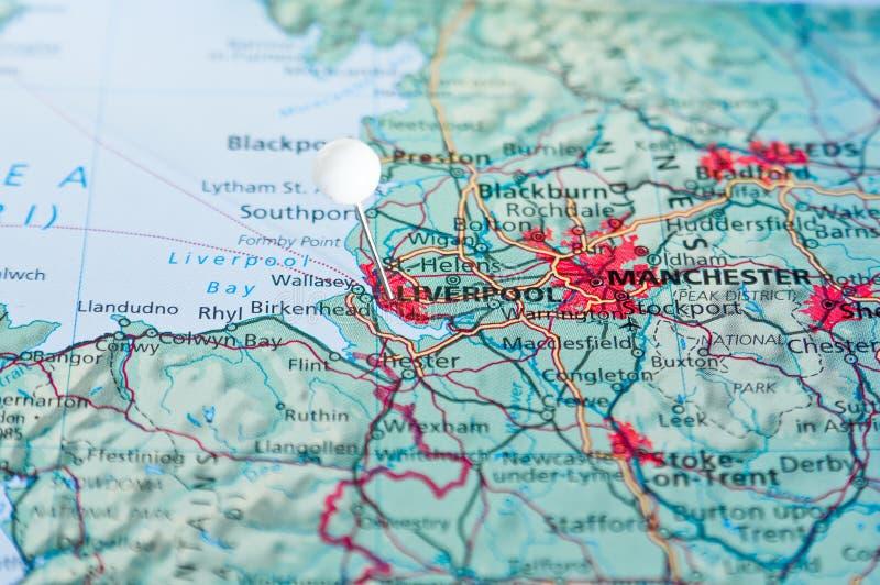 Pin sur la carte avec Liverpool photo libre de droits