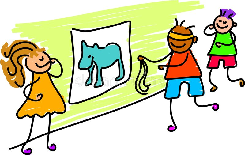 Download Pin the tail on donkey stock vector. Image of kindergarten - 654337