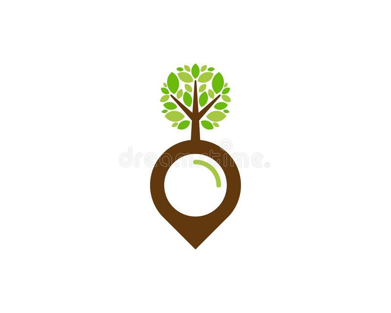 Pin Tree Logo Icon Design royalty-vrije illustratie