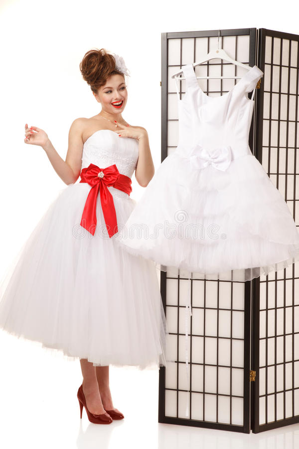 Download Pin Up Bride Stock Photo. Image Of Girl, Cheerful, Dress