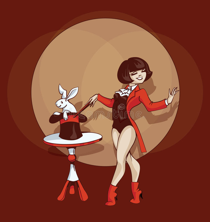 Pin-up cartoon cute illusionist with white rabbit vector illustration