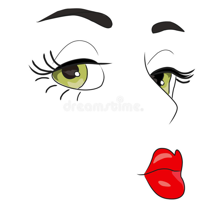 Pin up cartoon face vector illustration