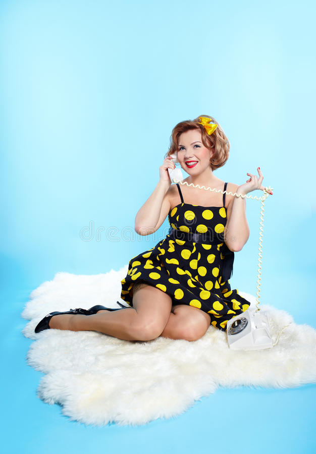Download Pin-up girl stock photo. Image of dress, nostalgia, cute - 14525722