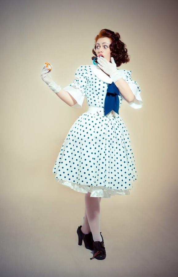 Download Pin-up girl stock photo. Image of brunette, retro, posing - 24307632