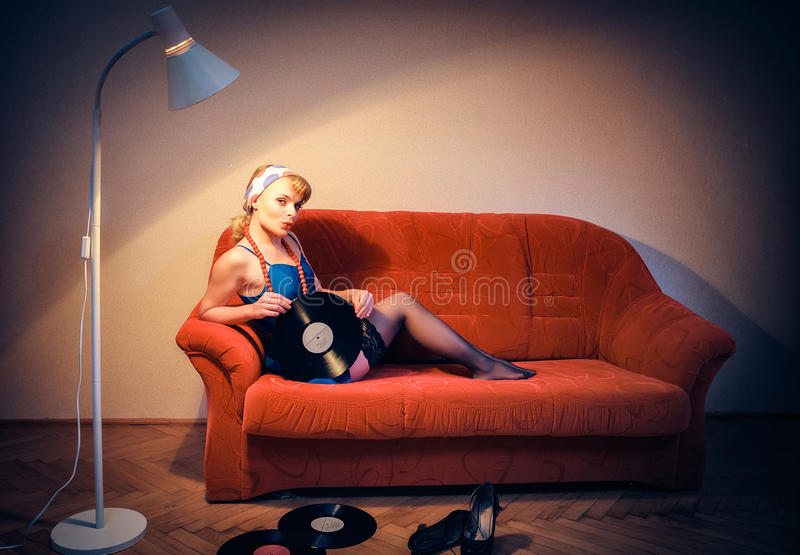 American style. Pin-up girl. American style stock photos