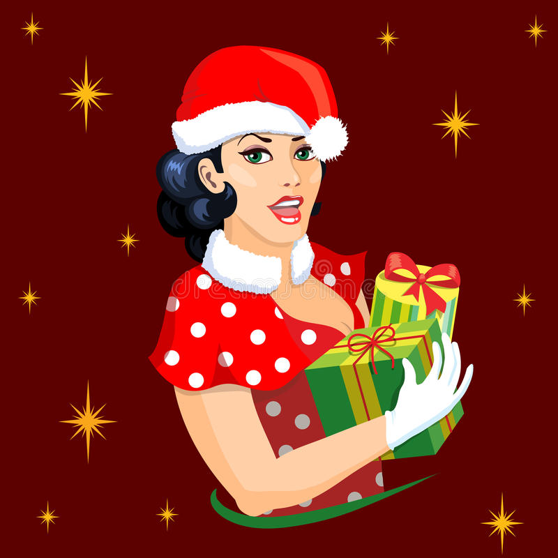 Pin-up girl dressing in a christmas style, holding presents stock images