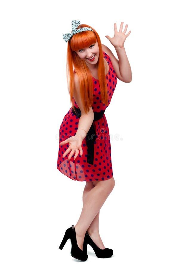 Pin-up girl full length stock image