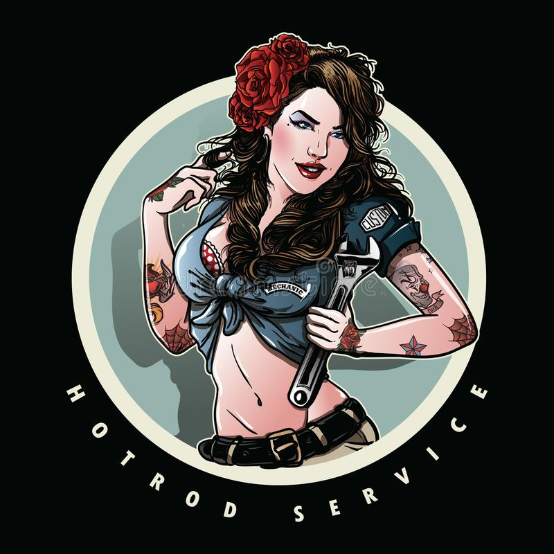 Pin up girl illustration. Illustration of vintage beautiful pin up girl with rose and tattoo, holding wrench vector illustration