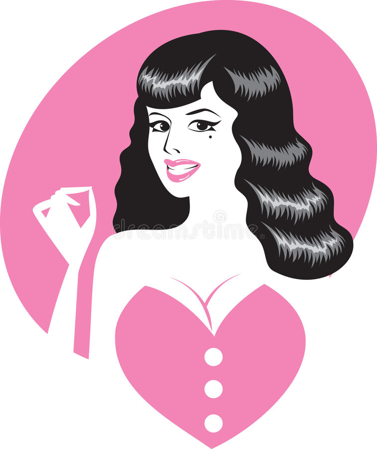 Pin-up Girl Portrait Royalty Free Stock Photo