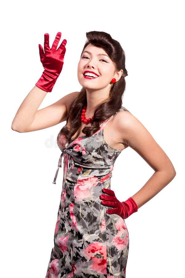 Pin-up girl with red gloves stock image