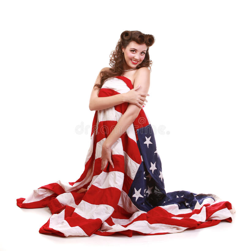 Pin Up Girl In Studio With American Flag Stock Photo - Image of hair ...