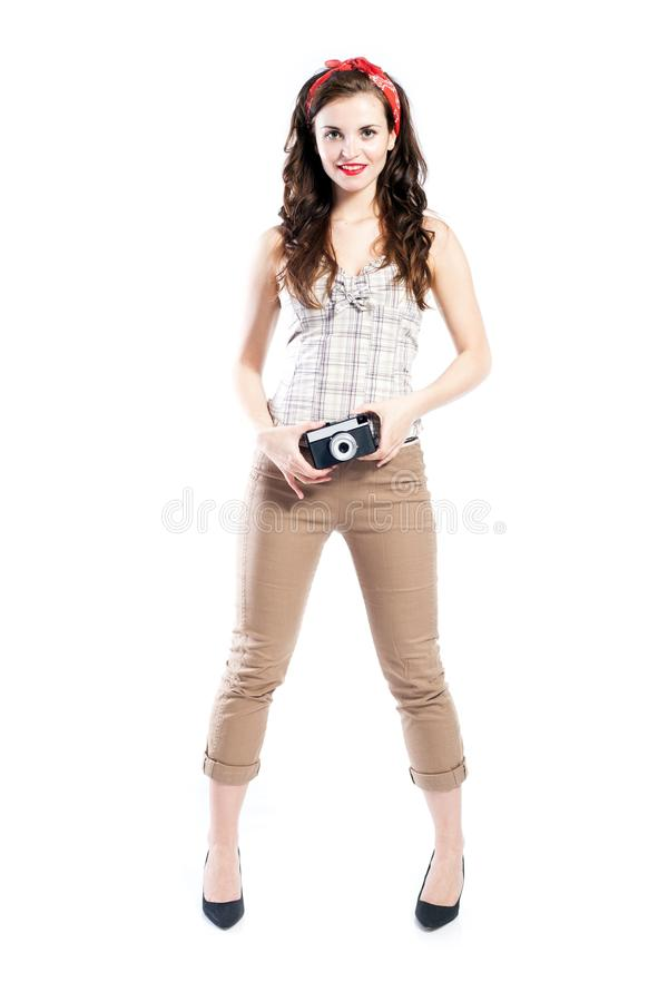Pin up girl style, woman with retro camera royalty free stock photos