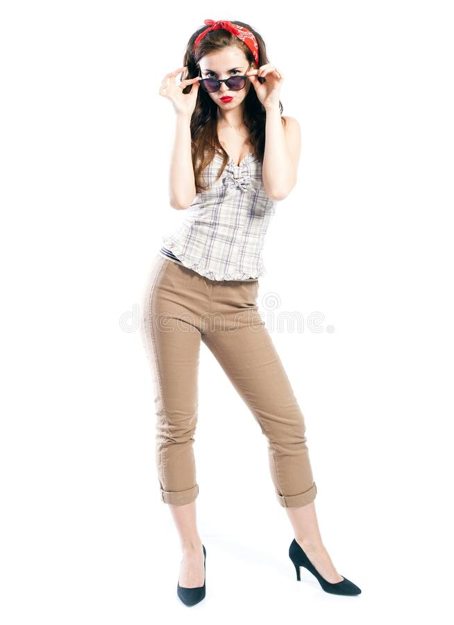 Pin up girl style, woman with retro sunglasses royalty free stock photos