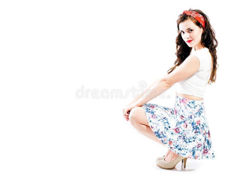 Pin up girl style, young woman posing royalty free stock photos