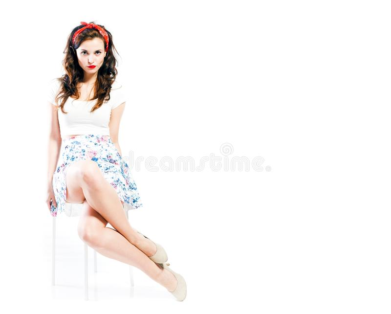 Pin up girl style, young woman posing royalty free stock images