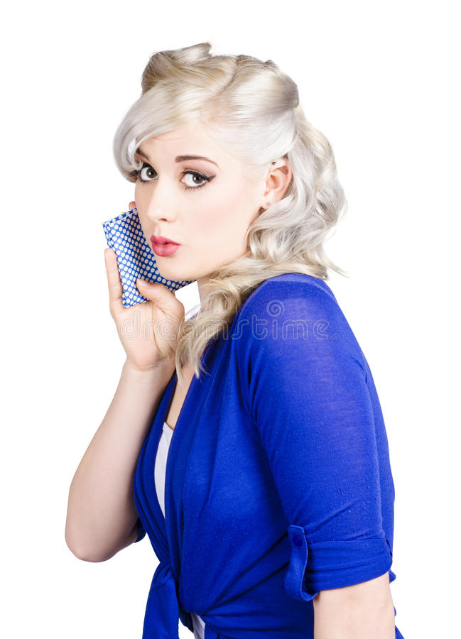 Download Pin Up Girl Whispering With Handkerchief Stock Image - Image of elegant, indoor: 32443269