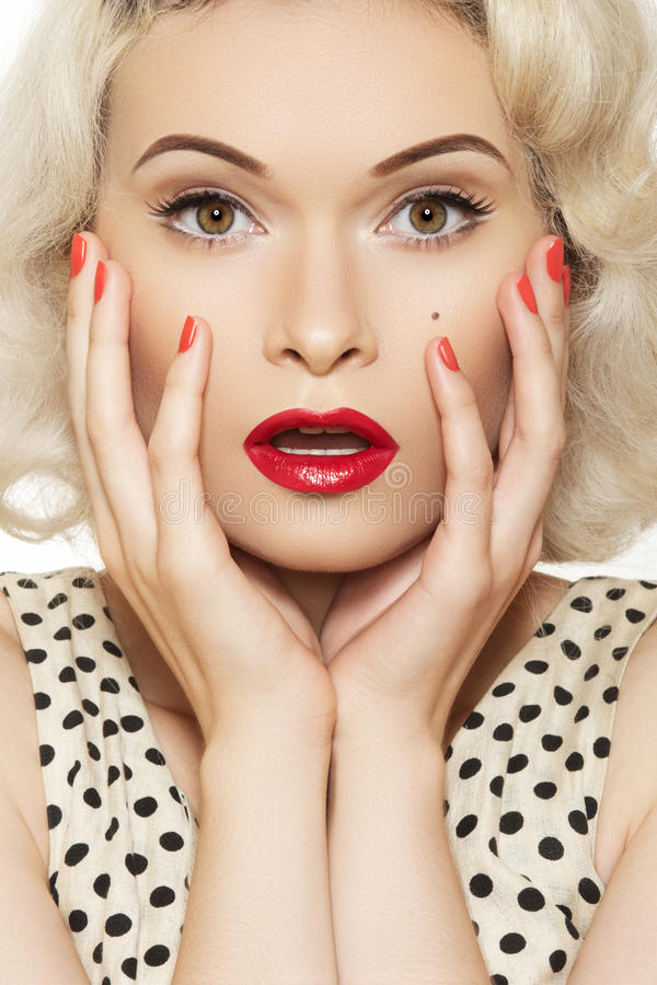 Free Pin-up Girl With Retro Make-up, Red Manicure Stock Images - 21493384