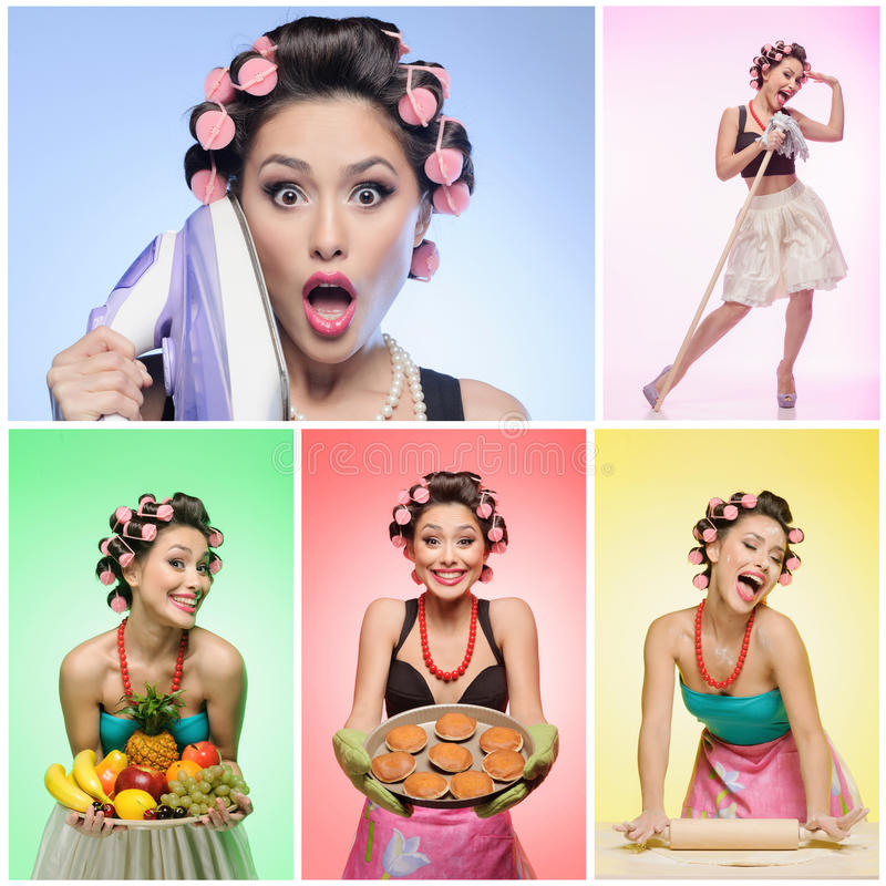 Pin-up housewife collage royalty free stock photos