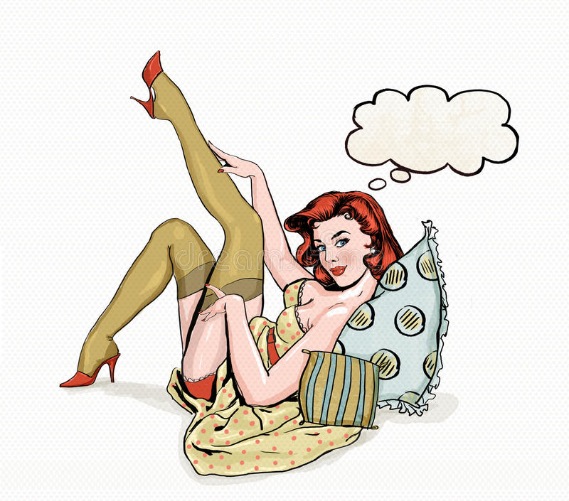 Pin up illustration of woman with the place for text.Pin up girl. Party invitation. Birthday greeting card. royalty free illustration