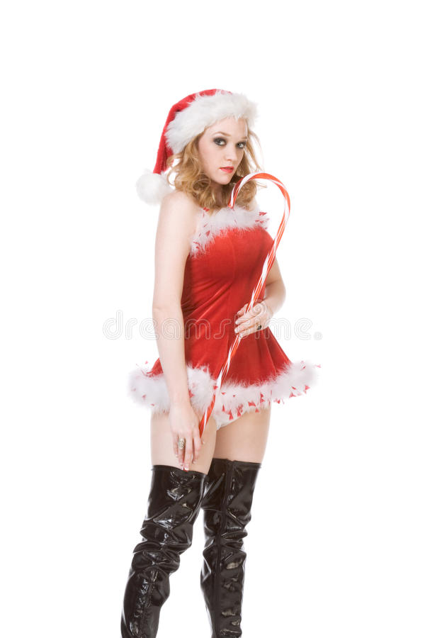 Download Pin Up Mrs Santa Claus With Huge Candy Cane Stock Photo - Image: 16419390