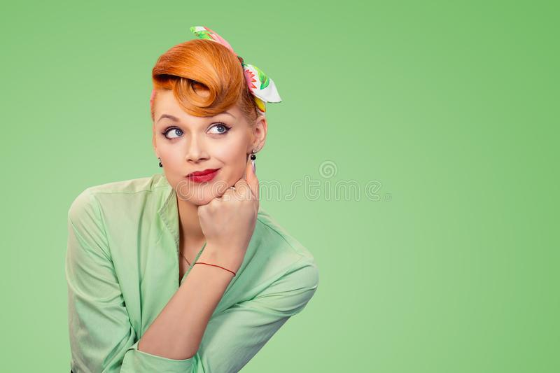 Pin up retro style woman looking suspicious royalty free stock images