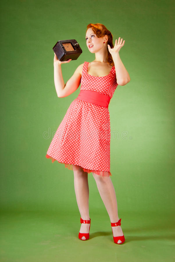 Download Pin-up style girl stock image. Image of retro, enjoyment - 14998695
