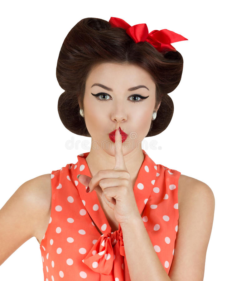 Pin Up Girl Face Portraits: Pin-up Style Girl With Finger On Lips Stock Photo