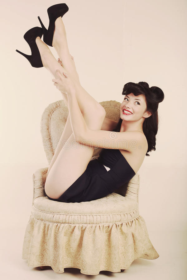 Download Pin Up Style Girl In Studio Stock Image - Image: 24852277