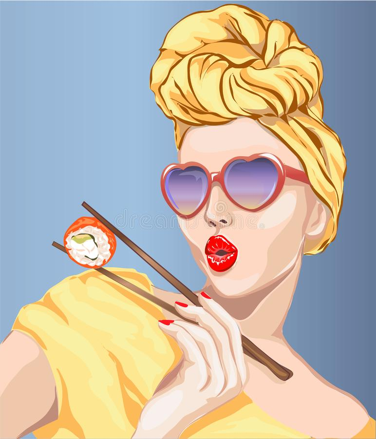 Pin-up style woman eating sushi, japanese food. Pop Art girl, heart sunglasses, head turban,. Illustration royalty free illustration