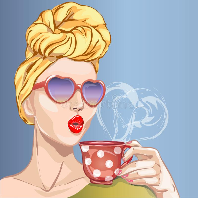 Pin-up style woman with morning cup of tea. Pop Art girl, heart sunglasses, head turban,. Illustration stock illustration