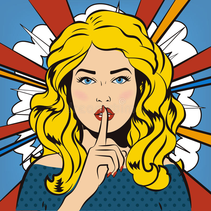 Pin up woman putting her forefinger to her lips for quite silence. Pop art comics style. Vector illustration. Pop art girl says sh. Woman says Shh! Retro vector illustration