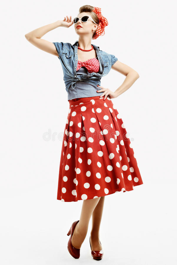 Pin Up Young Woman In Vintage American Style Stock Photo