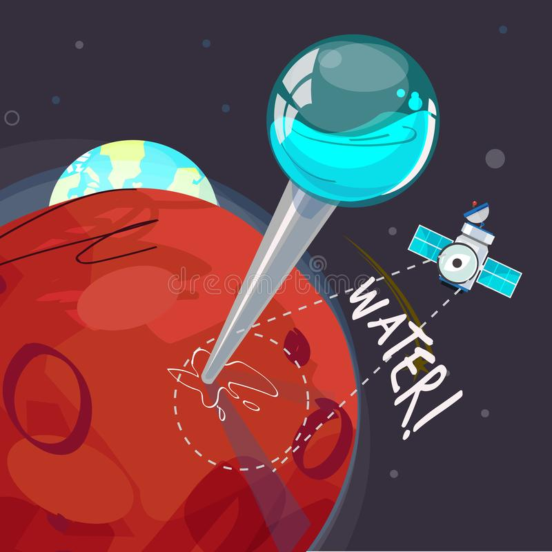 Pin for water on Mars - vector vector illustration