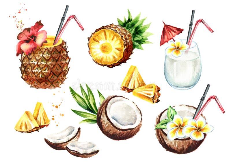Pina colada鸡尾酒设置了用椰子和菠萝 水彩手拉的例证,隔绝在白色背景 皇族释放例证
