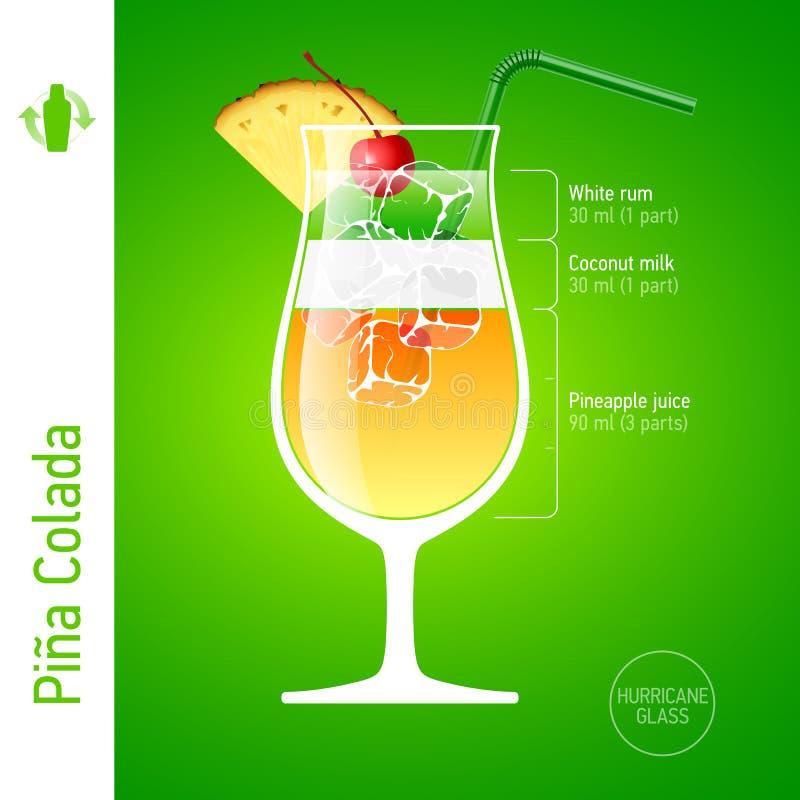 Pina Colada鸡尾酒 库存例证