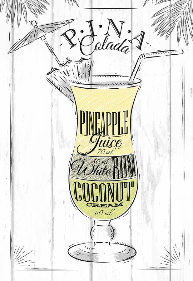 Pina Colada Cocktail ilustración del vector