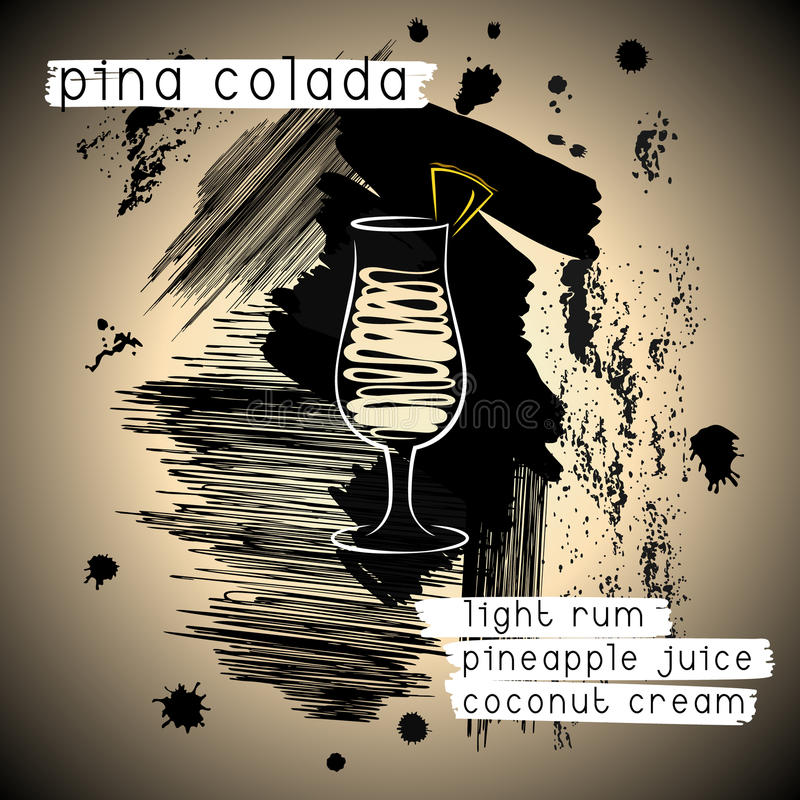 Pina Design pina colada cocktail in grunge style stock vector illustration of